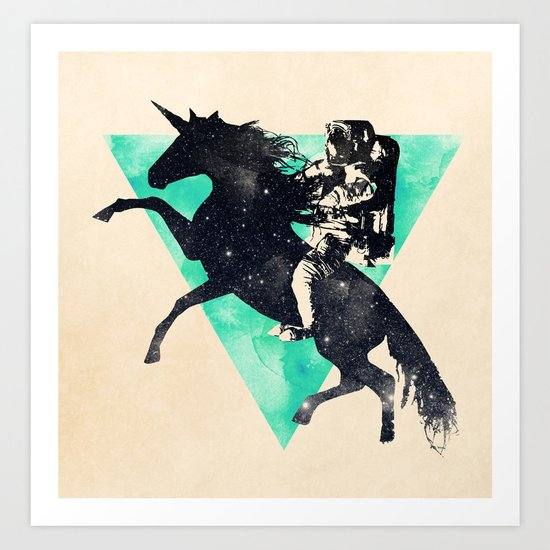 Ride the universe Art Print