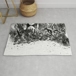 Black And White Half Faced Leopard Rug