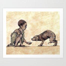 Boy and Puppy Art Print
