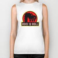rock n roll Biker Tanks featuring Rock n Roll lives! by Los Espada Art
