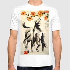 horses under floral tree Mens Fitted Tee MEDIUM White