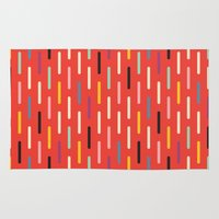 scandinavian Area & Throw Rugs featuring Modern Scandinavian Dash Red by Season of Victory