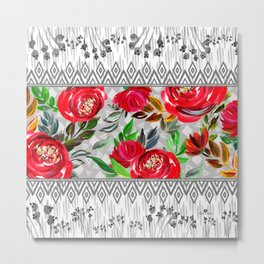 Red flowers with geometric Metal Print