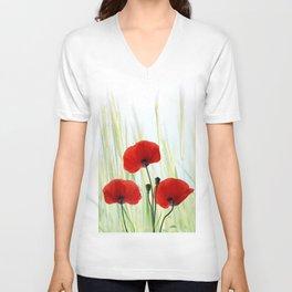 Poppies red 008 Unisex V-Neck