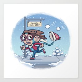 Winter Monkey Art Print