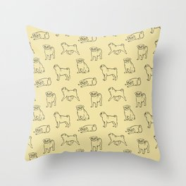 Pug Pattern Throw Pillow