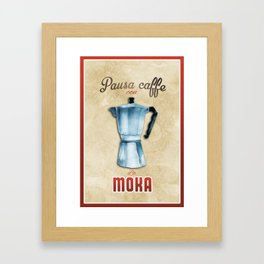 Cafe Poster: Coffee Break with Moka Framed Art Print