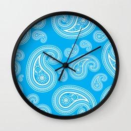 Blue paisleys Wall Clock