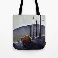 bears Tote Bags featuring Bears  by Kristin Rian