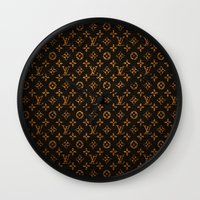 lv Wall Clocks featuring LV Pattern by Veylow