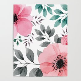 FLOWERS WATERCOLOR 14 Poster