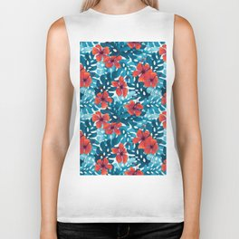 Tropical Hibiscus Pattern Red Biker Tank