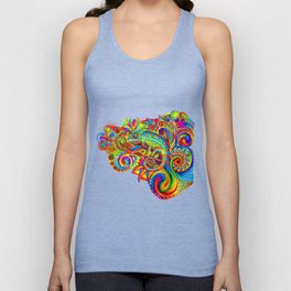 Psychedelizard Colorful Psychedelic Chameleon Rainbow Lizard Unisex Tank Top