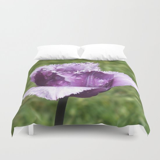 Purple Fringed Tulip Duvet Cover
