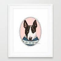 bull terrier Framed Art Prints featuring Bull Terrier by Rhian Davie