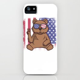 Merica Grizzly Bear USA American Flag iPhone Case