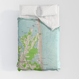 Vintage Map of Bethany Beach Delaware (1954) Comforters