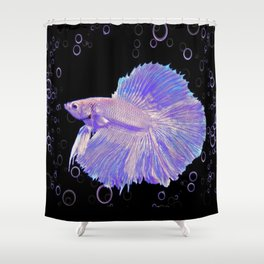 Iridescent Purple Fighting Fish Shower Curtain