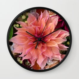 peach dahlia Wall Clock