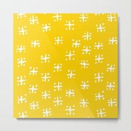 Mudcloth Yellow Metal Print