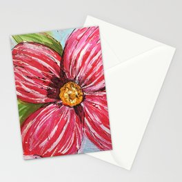 Happy Bright Pink Flower Stationery Cards
