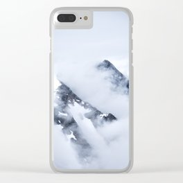 Minimalist MIsty Foggy Mountain Twin Peak Snow Capped Cold Winter Landscape Clear iPhone Case
