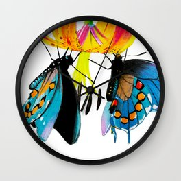 Butterflies & Lily Wall Clock