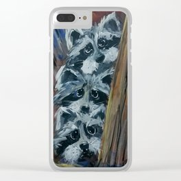 Raccoon Triplets Clear iPhone Case