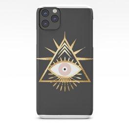 gold foil triangle evil eye iPhone Case