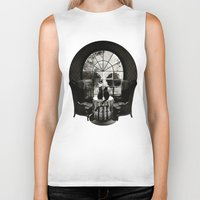 trippy Biker Tanks featuring Room Skull B&W by Ali GULEC