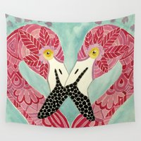 flamingos Wall Tapestries featuring Flamingos  by ArtLovePassion