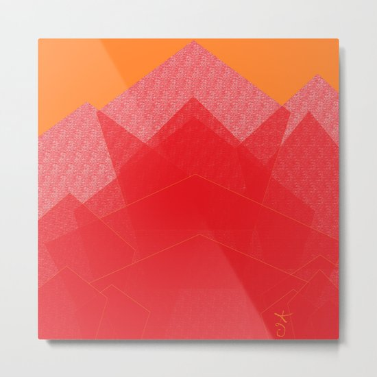 Colorful Red Abstract Mountain Metal Print