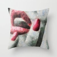 no face Throw Pillows featuring Face by ArtZ