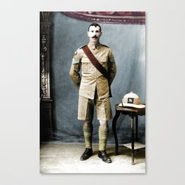 Queen's Royal Regiment Soldier Studio Photograph during the First world War Canvas Print