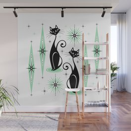 Mid Century Meow Retro Atomic Cats - w/ Mint on White Wall Mural