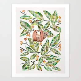 Happy Sloth – Tropical Green Rainforest Art Print