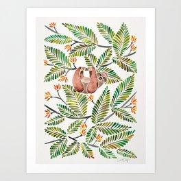 Happy Sloth – Tropical Green Rainforest Art Print