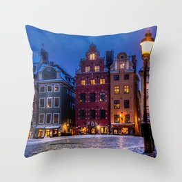 The Old Town Winter Night II Throw Pillow
