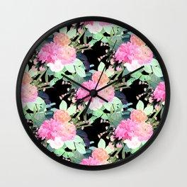 Trendy Pink & Black Flowers Watercolor Design Wall Clock