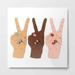 Peace Hands Cartoon Metal Print