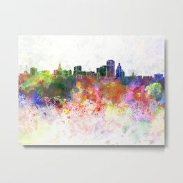 Hartford skyline in watercolor background Metal Print
