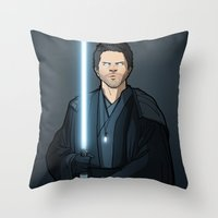 jedi Throw Pillows featuring Jedi Cas by rdjpwns