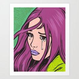 Purple Hair Sad Comic Girl Art Print