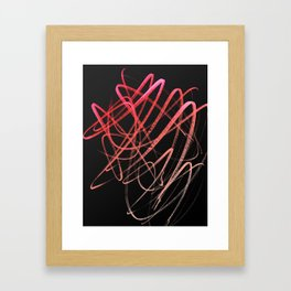 Salmon Pink Wavy Lines on Black Framed Art Print