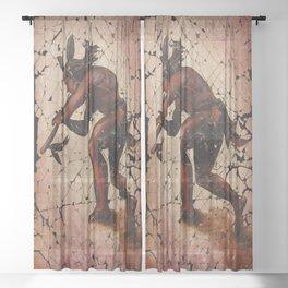 Kokopelli, The Flute Player Fresco Wall Art Sheer Curtain
