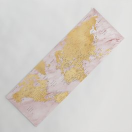 """Adventure awaits, gold and pink marble detailed world map, """"Sherry"""" Yoga Mat"""