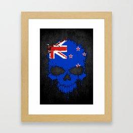 Flag of New Zealand on a Chaotic Splatter Skull Framed Art Print