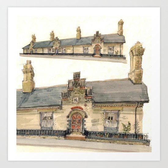 Almshouse, King Street, Cambridge, UK Art Print