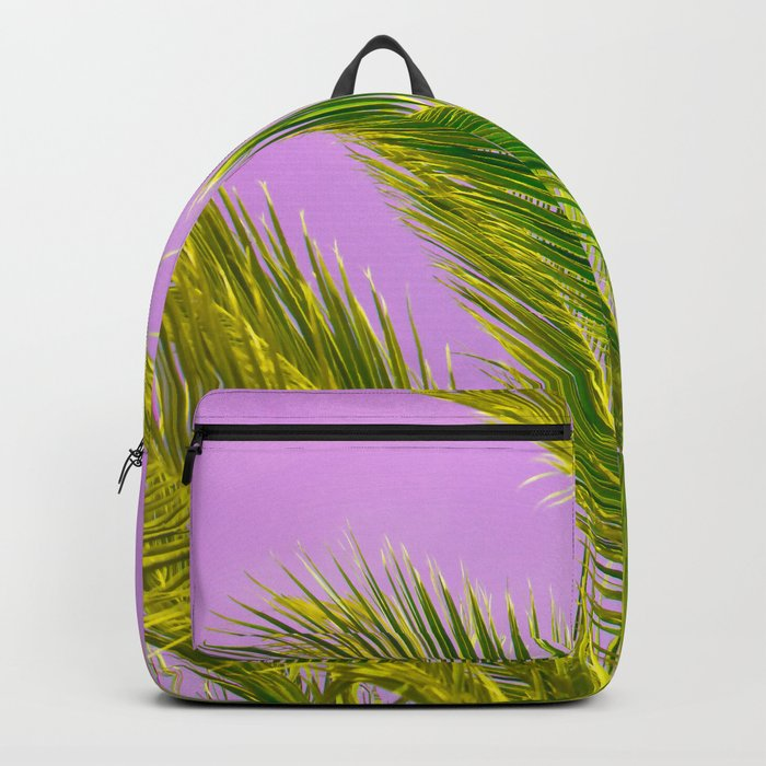 Green palm leaves on a pink background - #Society6 #Buyart Backpack