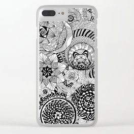 Circle Flowers Clear iPhone Case